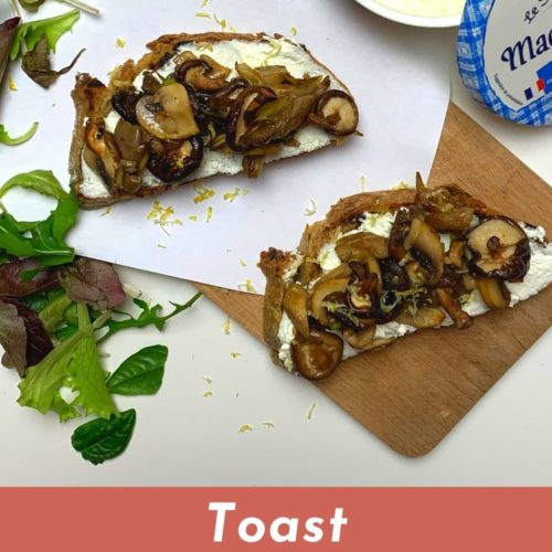 toast fromage frais champignons pin